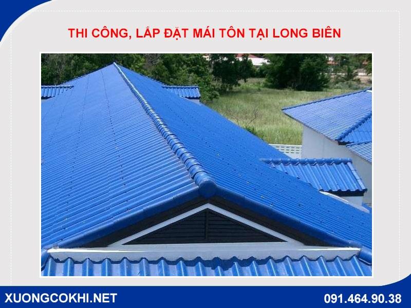 thi công, lắp đặt mái tôn tại Long Biên uy tín