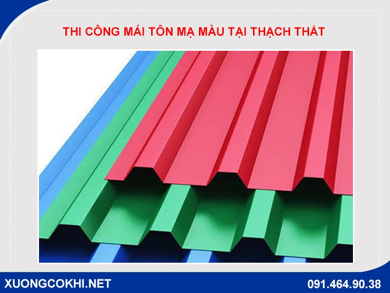 Thi công làm mái tôn mạ màu tại huyện Thạch Thất
