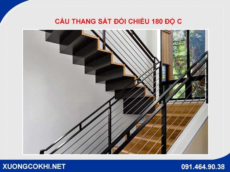 Cầu thang sắt đổi chiều 180 độ C