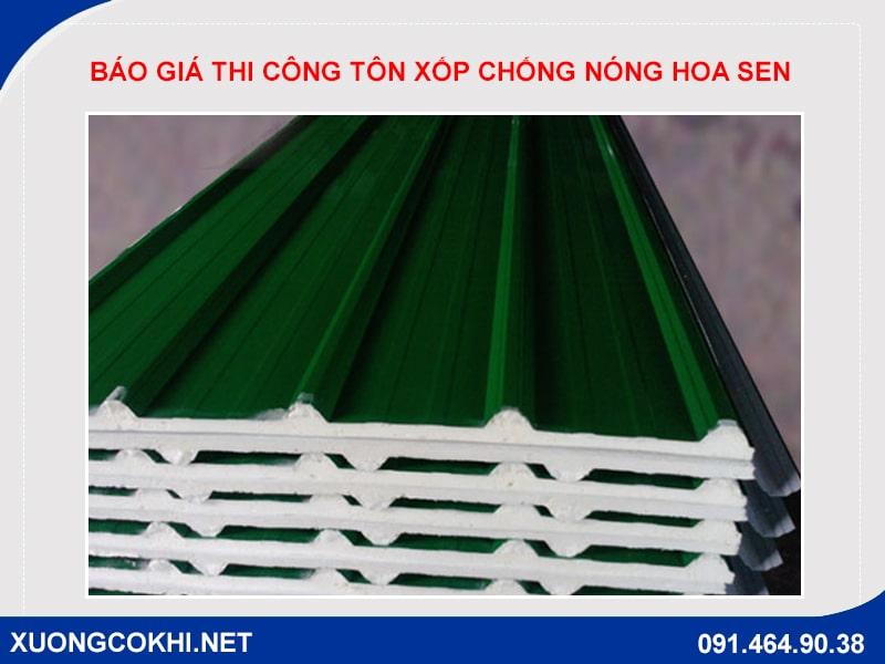 Báo giá thi công tôn xốp chống nóng Hoa Sen