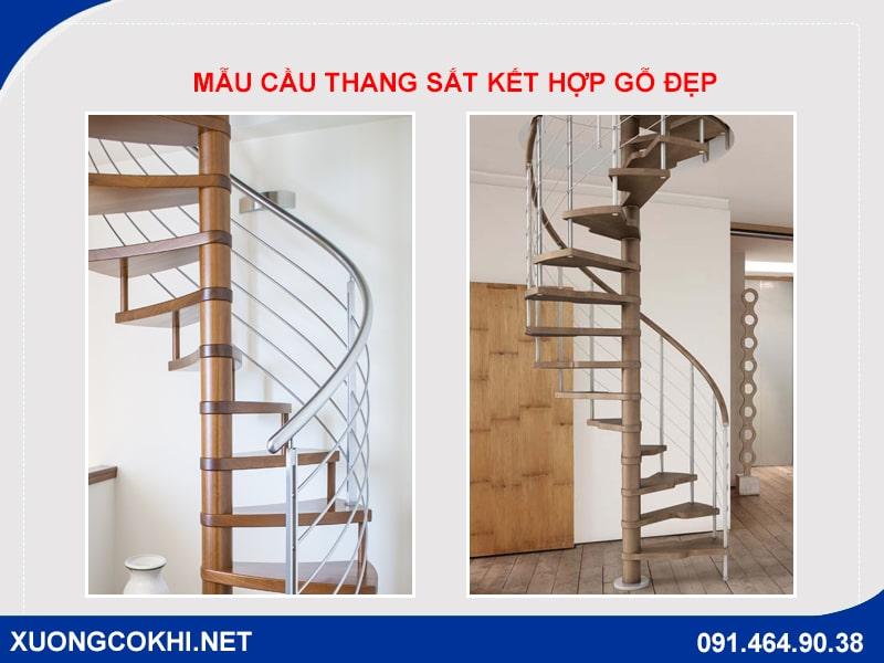 Báo giá 50+ mẫu cầu thang sắt ốp gỗ đẹp