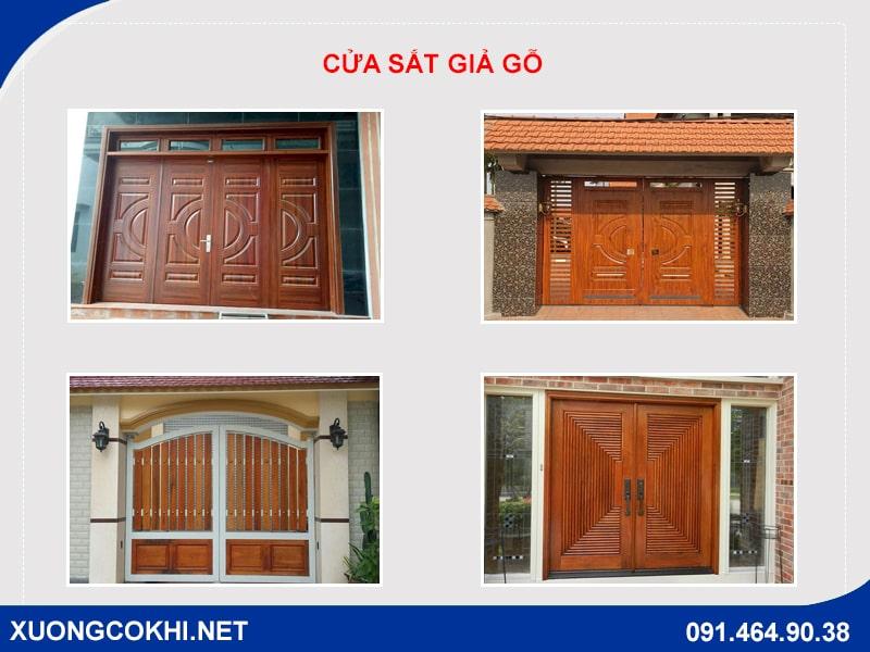 Tổng hợp và báo giá mẫu cửa sắt giả gỗ tại Hà Nội 1