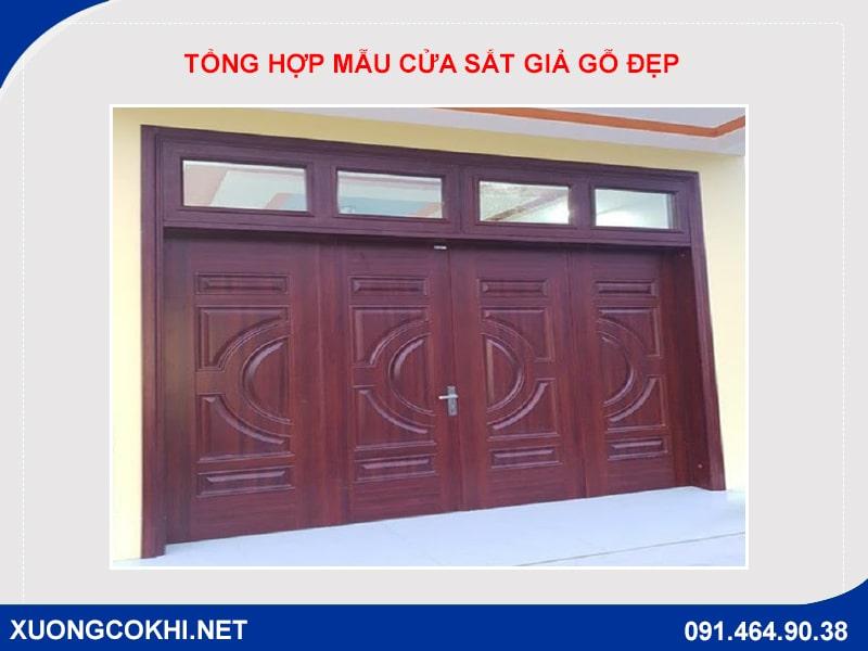 Tổng hợp và báo giá mẫu cửa sắt giả gỗ tại Hà Nội 10