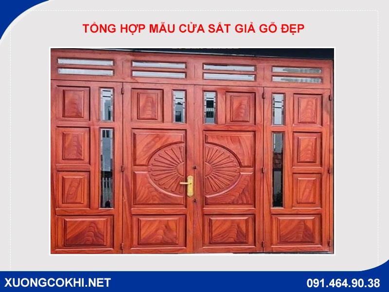Tổng hợp và báo giá mẫu cửa sắt giả gỗ tại Hà Nội 11