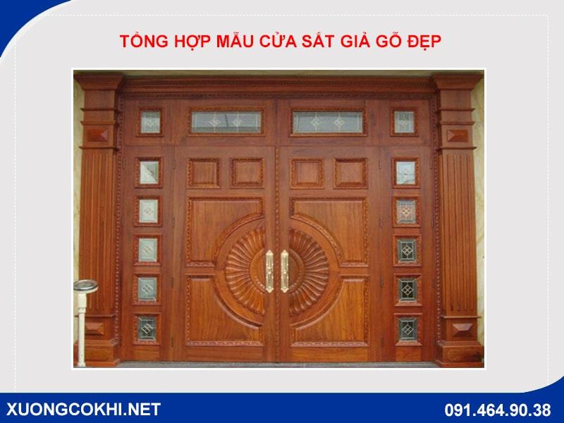 Tổng hợp và báo giá mẫu cửa sắt giả gỗ tại Hà Nội 12
