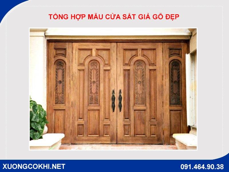 Tổng hợp và báo giá mẫu cửa sắt giả gỗ tại Hà Nội 13