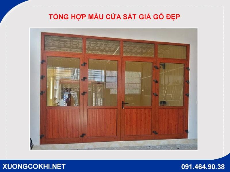 Tổng hợp và báo giá mẫu cửa sắt giả gỗ tại Hà Nội 14