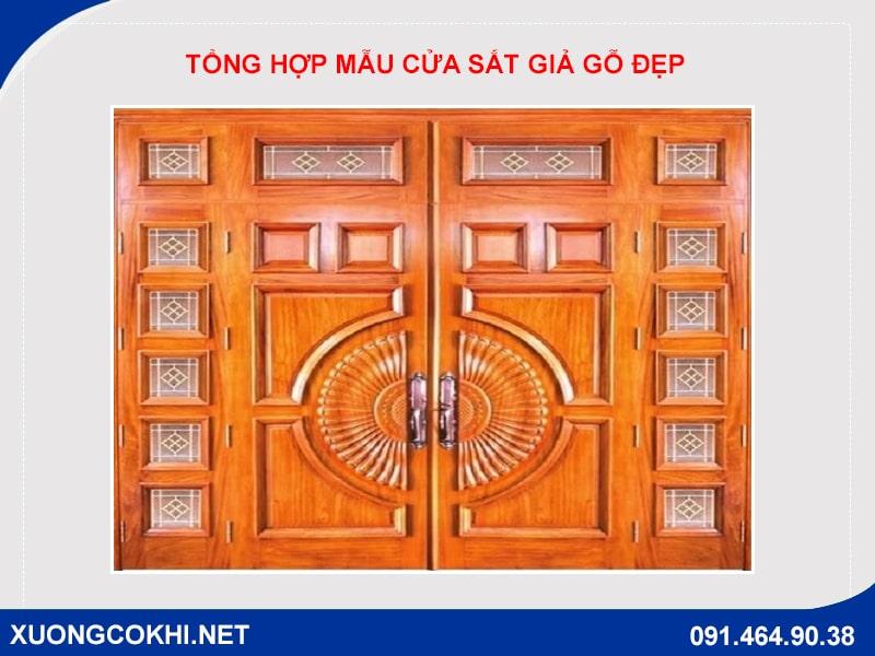 Tổng hợp và báo giá mẫu cửa sắt giả gỗ tại Hà Nội 15