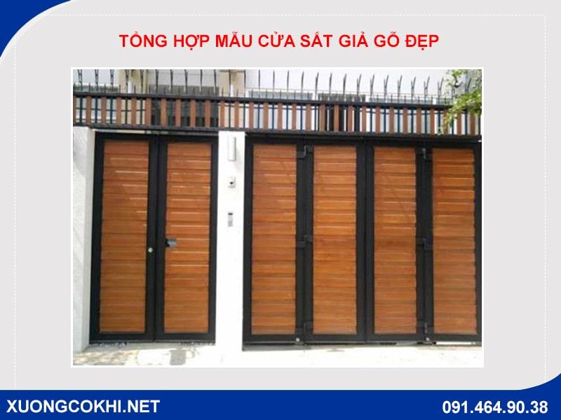 Tổng hợp và báo giá mẫu cửa sắt giả gỗ tại Hà Nội 16