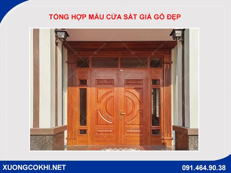 Tổng hợp và báo giá mẫu cửa sắt giả gỗ tại Hà Nội 17