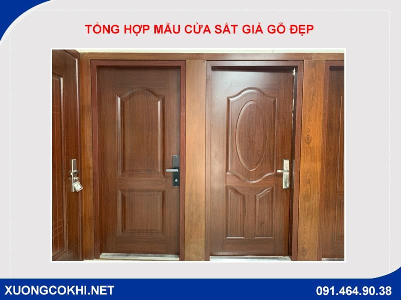 Tổng hợp và báo giá mẫu cửa sắt giả gỗ tại Hà Nội 18