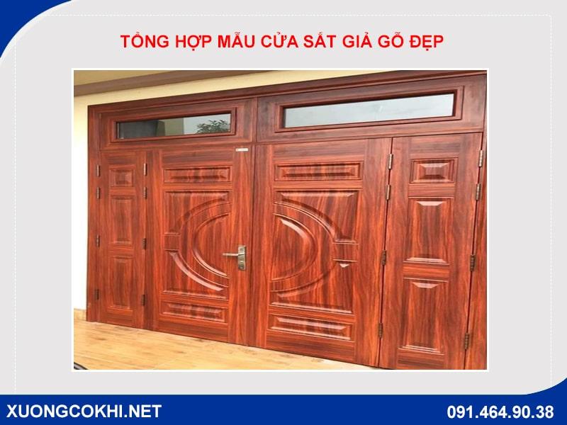Tổng hợp và báo giá mẫu cửa sắt giả gỗ tại Hà Nội 19
