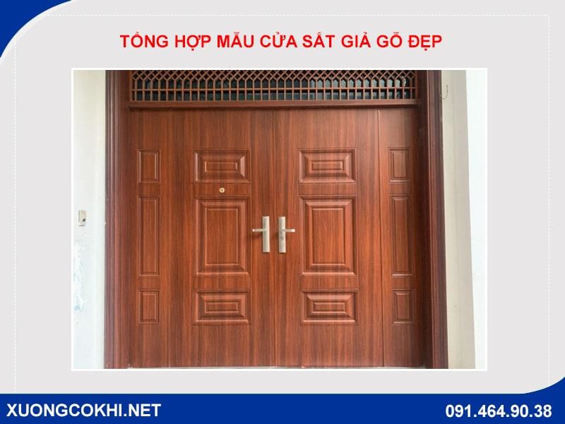 Tổng hợp và báo giá mẫu cửa sắt giả gỗ tại Hà Nội 20