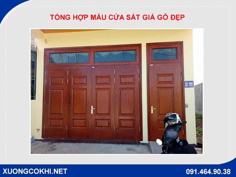 Tổng hợp và báo giá mẫu cửa sắt giả gỗ tại Hà Nội 21