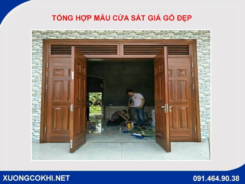 Tổng hợp và báo giá mẫu cửa sắt giả gỗ tại Hà Nội 22