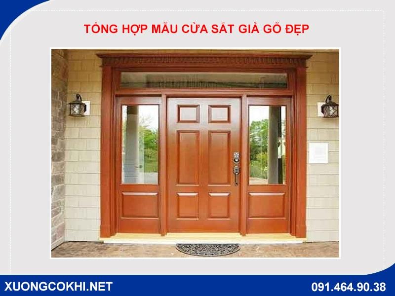 Tổng hợp và báo giá mẫu cửa sắt giả gỗ tại Hà Nội 24