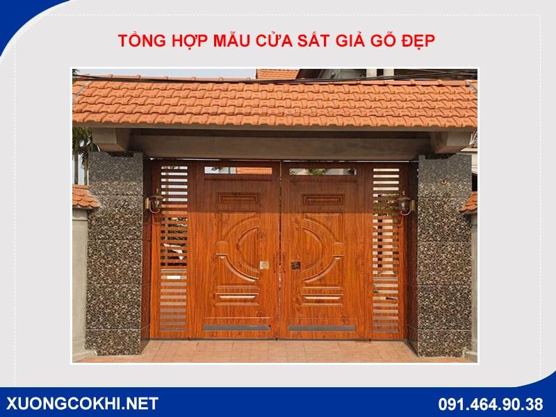 Tổng hợp và báo giá mẫu cửa sắt giả gỗ tại Hà Nội 26