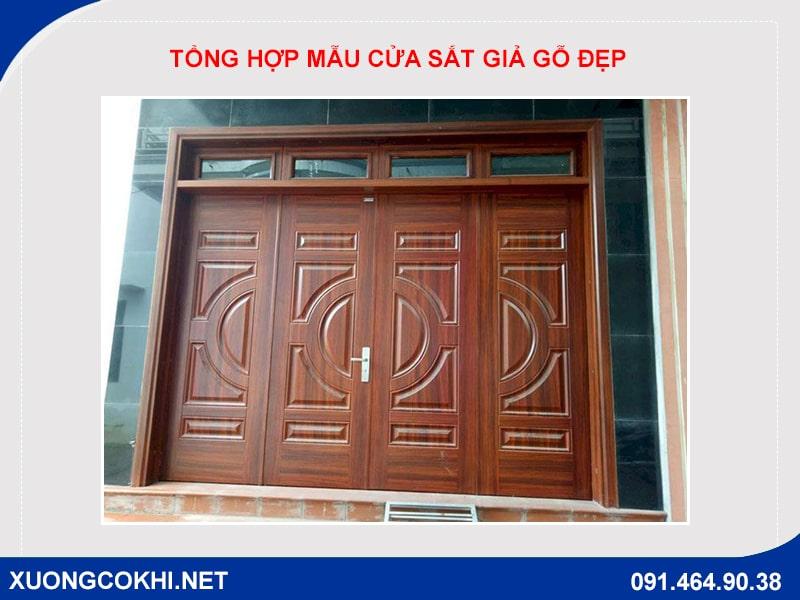 Tổng hợp và báo giá mẫu cửa sắt giả gỗ tại Hà Nội 27