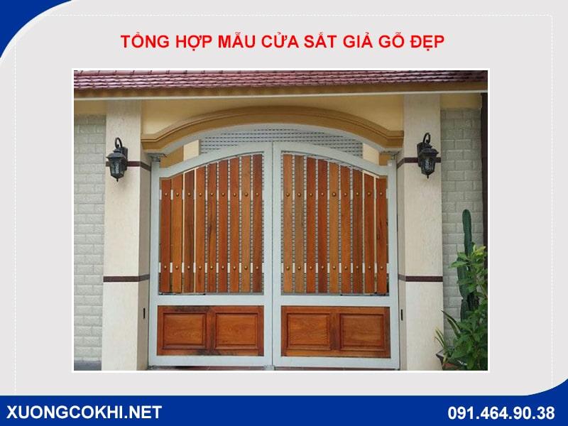 Tổng hợp và báo giá mẫu cửa sắt giả gỗ tại Hà Nội 29