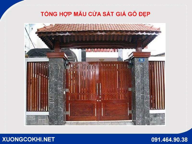 Tổng hợp và báo giá mẫu cửa sắt giả gỗ tại Hà Nội 3