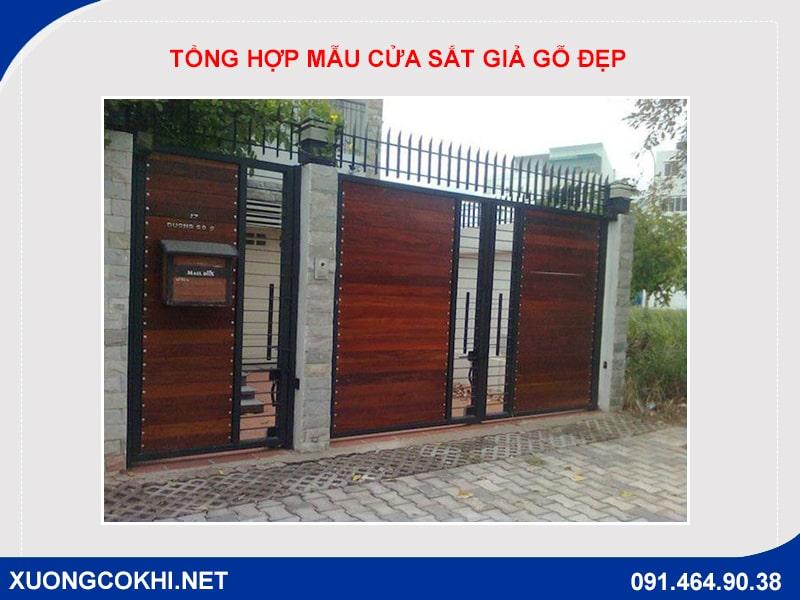 Tổng hợp và báo giá mẫu cửa sắt giả gỗ tại Hà Nội 30