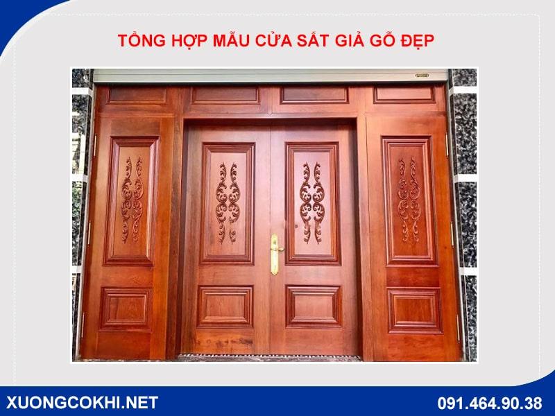 Tổng hợp và báo giá mẫu cửa sắt giả gỗ tại Hà Nội 4