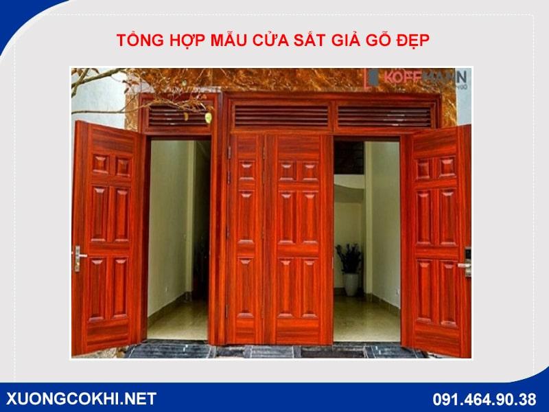 Tổng hợp và báo giá mẫu cửa sắt giả gỗ tại Hà Nội 5