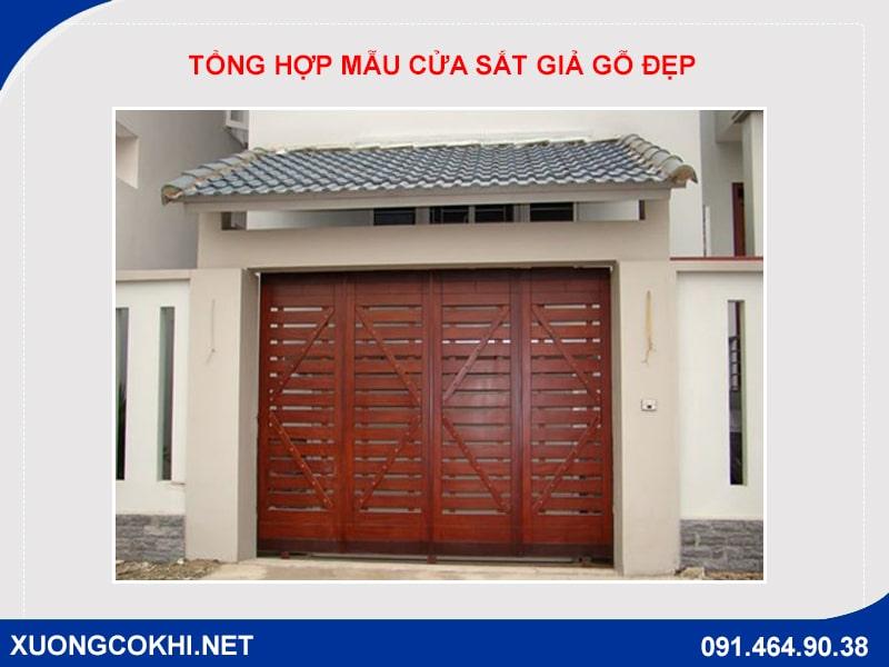 Tổng hợp và báo giá mẫu cửa sắt giả gỗ tại Hà Nội 6