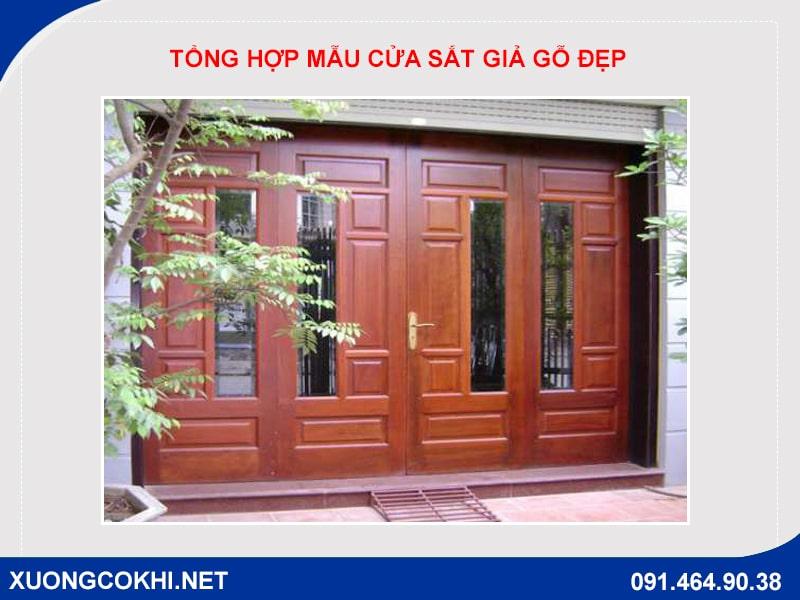 Tổng hợp và báo giá mẫu cửa sắt giả gỗ tại Hà Nội 7