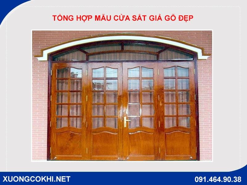 Tổng hợp và báo giá mẫu cửa sắt giả gỗ tại Hà Nội 8